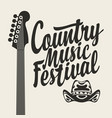country music festival poster with guitar and hat vector image vector image