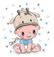cute cartoon baby boy in a giraffe hat vector image