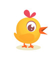cute cartoon yellow chicken vector image vector image
