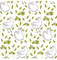 cute goose pattern duck with leafs vector image