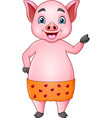 cute pig cartoon in orange shorts vector image vector image