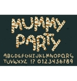 Decorative mummy alphabet set vector image
