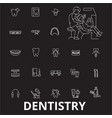 dentistry editable line icons set on black vector image vector image