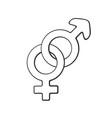 doodle heterosexual gender symbol vector image vector image
