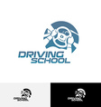 Driving school logo template vector image vector image