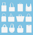 fabric bag eco canvas bags white shopping bagful vector image vector image