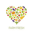 farm fresh colorful vegetables in shape of heart vector image vector image