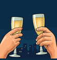 female and male hands holding and clinking glasses vector image