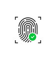 fingerprint icon with check mark vector image