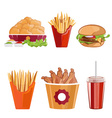 fried chickenfries and burger fast food vector image