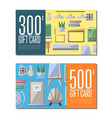 gift card set for classroom furniture vector image vector image