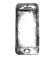 Handdrawn sketch of mobile phone front isolated on vector image