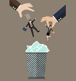 Hands throw a business man and woman in the trash vector image vector image