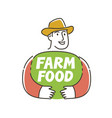 happy farmer logo farm food symbol vector image vector image
