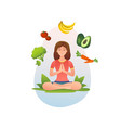 healthy food vegan vegetarian and yoga vector image vector image