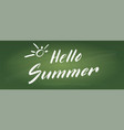 hello summer calligraphy lettering on green vector image vector image