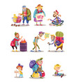 homeless and beggars people cartoon vector image vector image