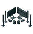isometric home theater audio system isolated vector image