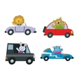 Kids cars transport with cute cartoon animals vector image vector image