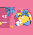 landing page happy female young surfer vector image vector image