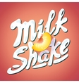 lettering milkshake sign with - label for packing vector image