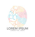 logo icon with brain and fingerprint vector image vector image