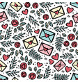 love letter mail hand drawn seamless pattern vector image