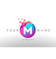 m dots letter logo with bubbles a letter design vector image