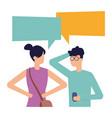 man with smartphone and woman talk bubble vector image vector image