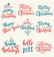merry christmas happy new year set of hand drawn vector image