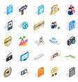 music player icons set isometric style vector image vector image