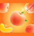 peach falling in juice realistic advertising vector image vector image