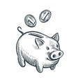piggy bank and coins sketch business banking vector image