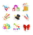 realistic 3d detailed party icon set vector image vector image