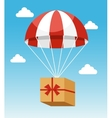 Red and White Parachute Holding Delivery Box vector image vector image