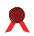 red wax seal with ribbon vector image