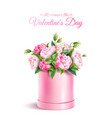 rose flower box valentines day realistic vector image vector image