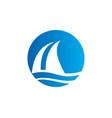 sail boat water beach travel logo vector image vector image