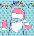 santa claus hat with bear and glove costume vector image