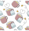 seamless pattern with cup of tea and bag vector image