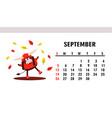 september 2021 horizontal calendar with bulls vector image vector image