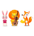 set three cute colorful musician animals