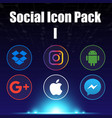 social icon pack one blue background image vector image vector image