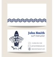 Surfing club business card template with logo vector image vector image