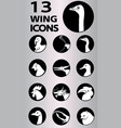wing icons collection vector image vector image