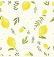 yellow lemon seamless pattern hand draw style vector image