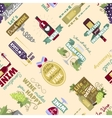 Seamless pattern with bottles and glasses vector image
