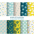 10 Seamless Patterns - Rain and Clouds vector image