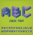 alphabet cubic font poster vector image
