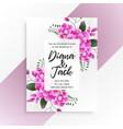beautiful pink flower wedding invitation template vector image vector image